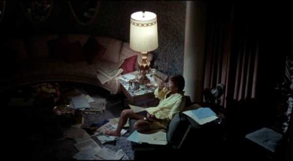 Looking down into the two-level suite which served as the owner's penthouse in the movie
