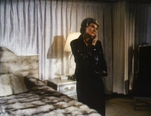 Possibly my favourite shot of the movie...Lange and her fur-covered bed and headboard. Wow, just wow.