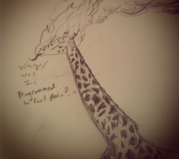 Another Tumblr creation...supposedly a giraffe with its head on fire, thought I'd rather pretend it's smoking.
