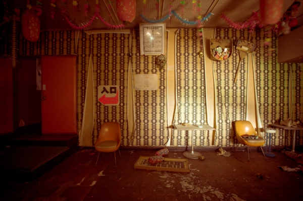 Eery scene from an abandoned, 70s-era strip club in an Japanese mountain resort town