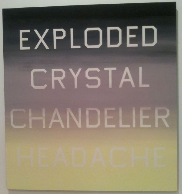 "Edward Ruscha, ""Exploded Crystal Chandelier Headache,"" 1987. Oil on canvas. A part of the permanent collection of the Palm Springs Art Museum."