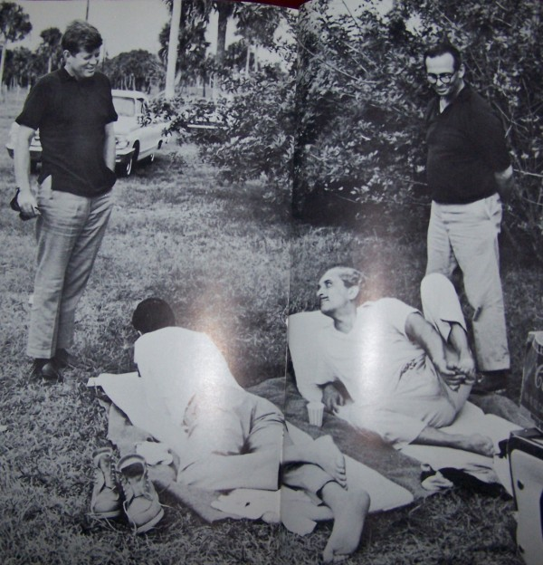 JFK, Chuck Spalding, Stas Radziwill, & Dr. Max Jacobson at the Kennedy compound in Palm Beach, Florida