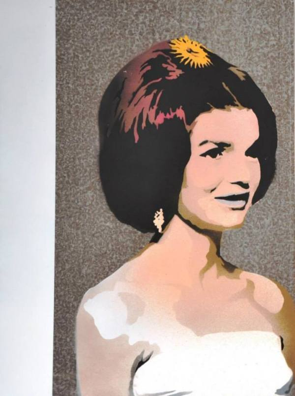 """Jackie O"" by Enrique Nevarez, aerosol paint on sheel metal, 18X13"", part of the Viceroy exhibit at Trifecta Gallery in Las Vegas, August 2013"