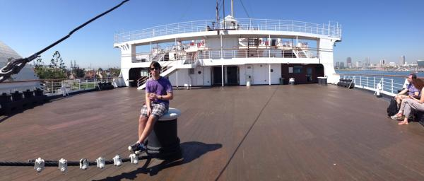 Me on the Queen Mary in mid-March, my fifth or sixth drink of the day in hand before noon